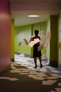 Woman walking down a hallway cluttered with paper
