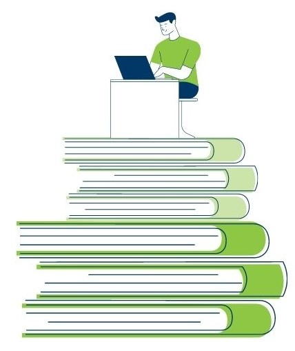 Drawing of figure at computer on a stack of books