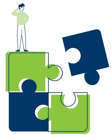 Man standing on puzzle pieces looking for solution