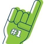 foam finger with number one on it