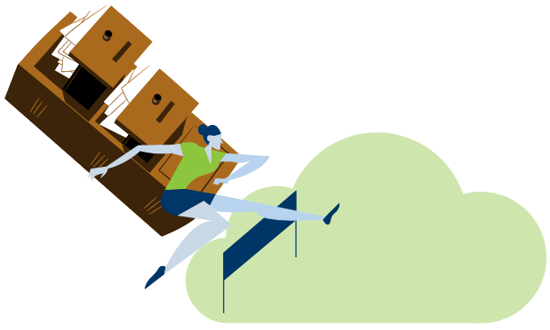 A woman with a file cabinet jumping a hurdle into a cloud